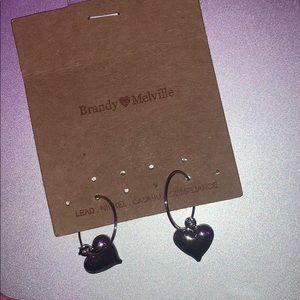 brandy melville heart earrings